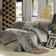 US $150.92 Mecerock New Design Autumn Winter Fleece Bedding Set Flannel Duvet Cover Super Soft Warm Quilted Bed Skirt Queen King Size. Aliexpress product