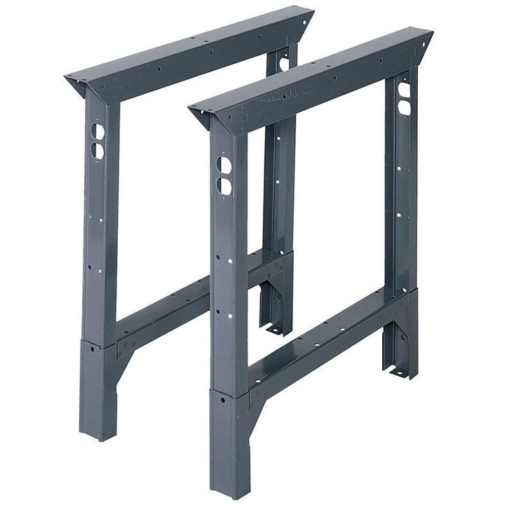 Love these as the base of a custom craft room desk!  Edsal 33 in. H x 2 in. W x 30 in. D Adjustable Height Work Bench Legs-ABL30 at The Home Depot