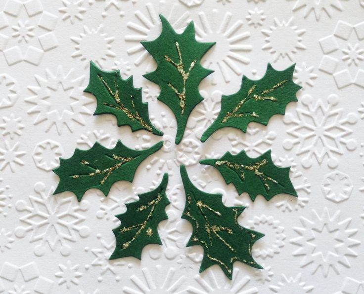 25 dark green Holly leaf Leaves die cuts for Christmas cards/toppers cardmaking scrapbooking *3 sizes mixed pack* by Craftycards82 on Etsy