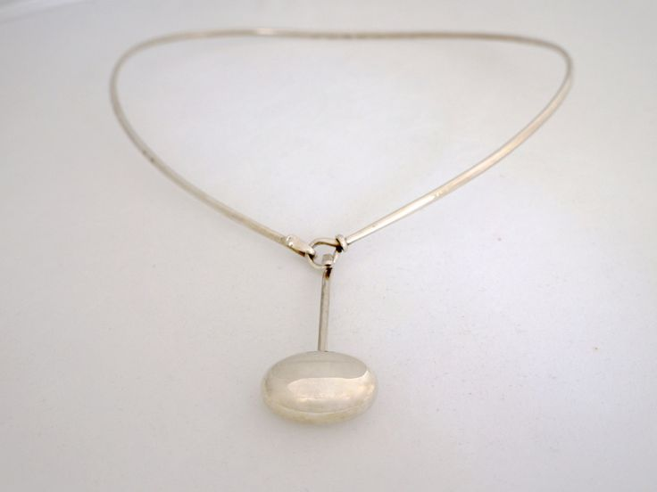 Georg Jensen Silver Neck Ring with pendant