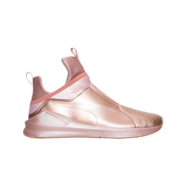 Puma Women's Fierce Metallic Casual Shoes ($55) ❤ liked on Polyvore featuring shoes, pink, lacy shoes, lace up shoes, pink lace shoes, stitch shoes and training shoes