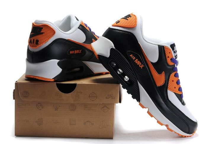 Vente pas cher Nike Air Max 90 Blanche/Pourpre/Orange/Noir Femme Chaussures Soldes Net