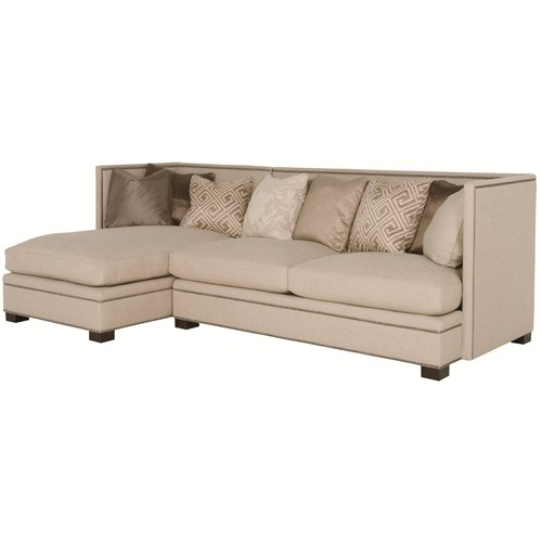 Sofa Beds Gramercy Gramercy Modern Sectional Sofa with Left Side Chaise and Nail Head Trim by Bernhardt