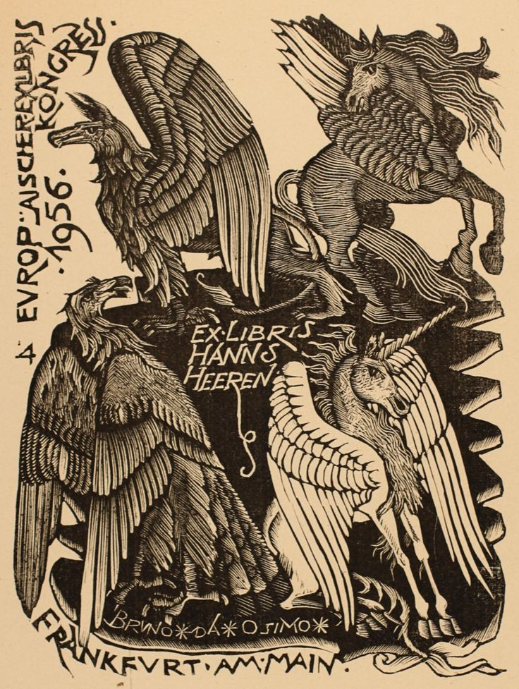 Exlibris by Bruno da Osimo. Owner: Hanns Heeren. Country: Italy. Year: 1956 Techniques: (X1) Woodcut Search words: Unicorn, Fable Animal, Bird Phoenix, Pegasus**