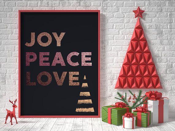 Rose gold christmas printable home decor joy peace love
