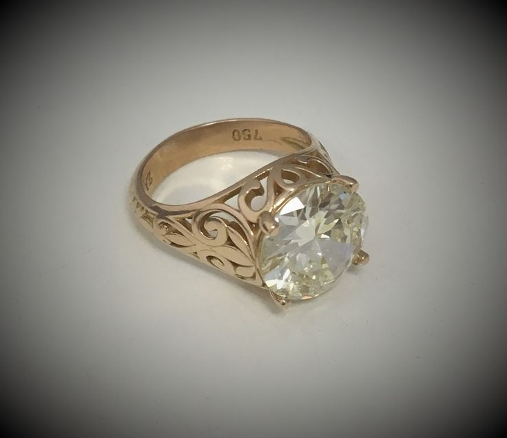 ..what to do with that 5.28ct diamond?? #18gold #customcrafted #dressring with #diamond