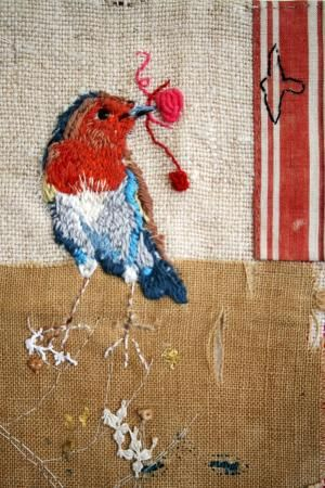 Heidi Turner: 'Robin' Wall piece, patchwork and hand embroidery on vintage recycled linen