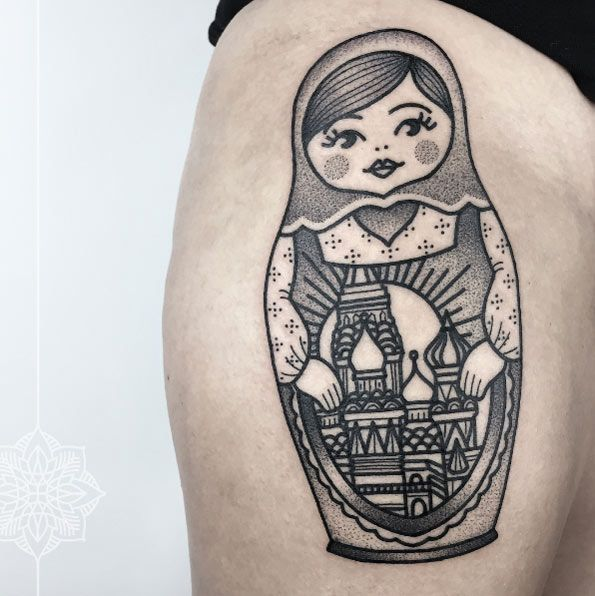 Dotwork+russian+nesting+doll+tattoo+by+Sarah+Herzdame