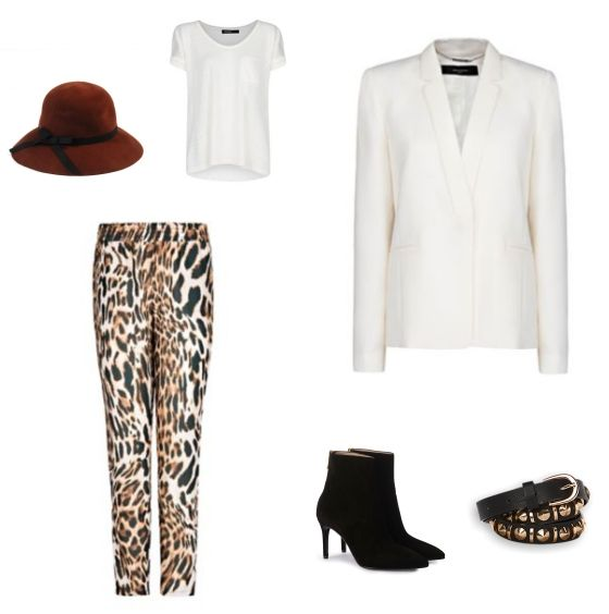 Leopard Print Outfit outfit - Urban fashion - Bij deze look draait het allemaal om de wijdvallende broek met panterprint van Mango. Door de opvallende broek te combineren met een witte blazer en een wit T-shirt, beide van Mango, komt hij optimaal tot zijn recht. De schoenen van Guglielmo Rotta zorgen voor lange benen. De look is compleet met de hoed van Pieces en de riem van The Sting.
