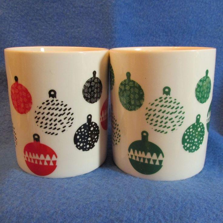 Lot 2 Starbucks Christmas Mugs Red Black Green Holiday Ornaments 2016 #Starbucks