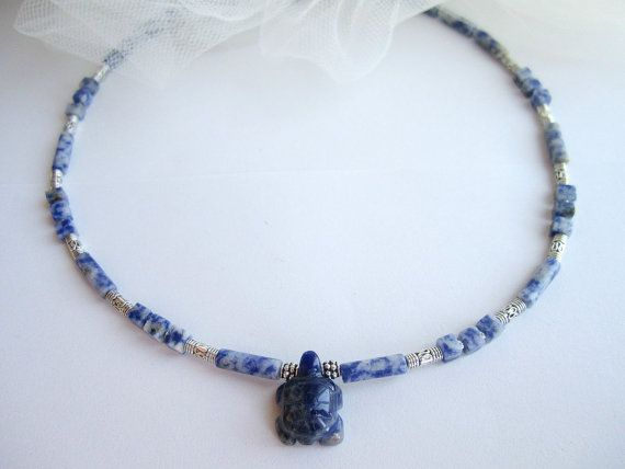 Mens turtle necklace mens stone beaded necklace by Bravemenjewelry