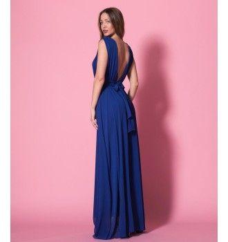 2251e5223b4f Μάξι Κρουαζέ Φόρεμα με Ζώνη - Μπλε Ρουά