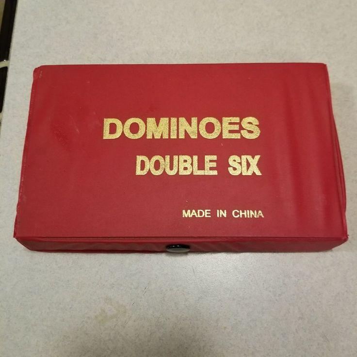Domino Double Six 6 Two Tone Blue White Tournament Pro Size Spinners Velvet Box