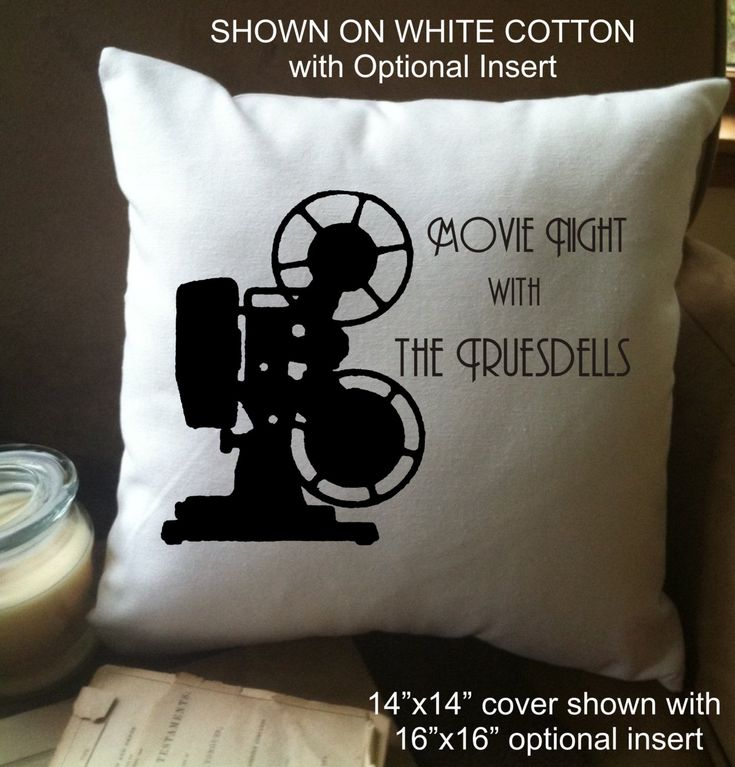 personalized movie night throw pillow cover,home  theater throw pillow cover, vintage projector by MinnieandMaude on Etsy