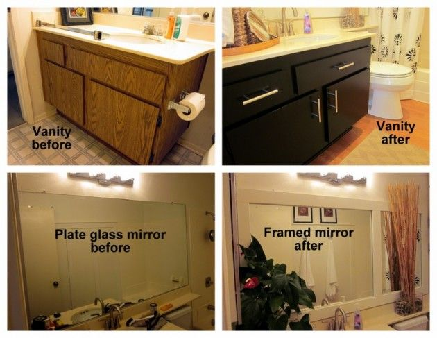 repaint bathroom vanities add new hardware and frame mirrors with moulding - Bathroom Remodel Cheap