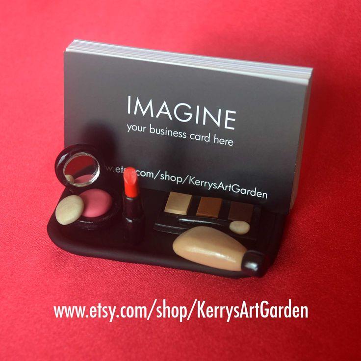 MakeUp Artist Polymer Clay Business Card Holder $30 www.etsy.com/shop/KerrysArtGarden