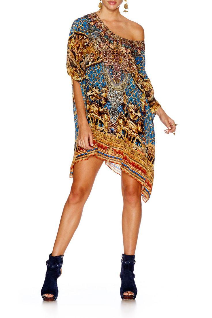 GILDED LUXURY SHORT ROUND NECK KAFTAN - Dresses - Shop | CAMILLA