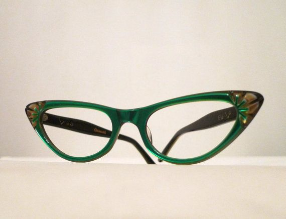 Emerald Green Eyeglass Frames : Emerald Green and Honey Dipped Carved Horn Rimmed Cat Eye ...