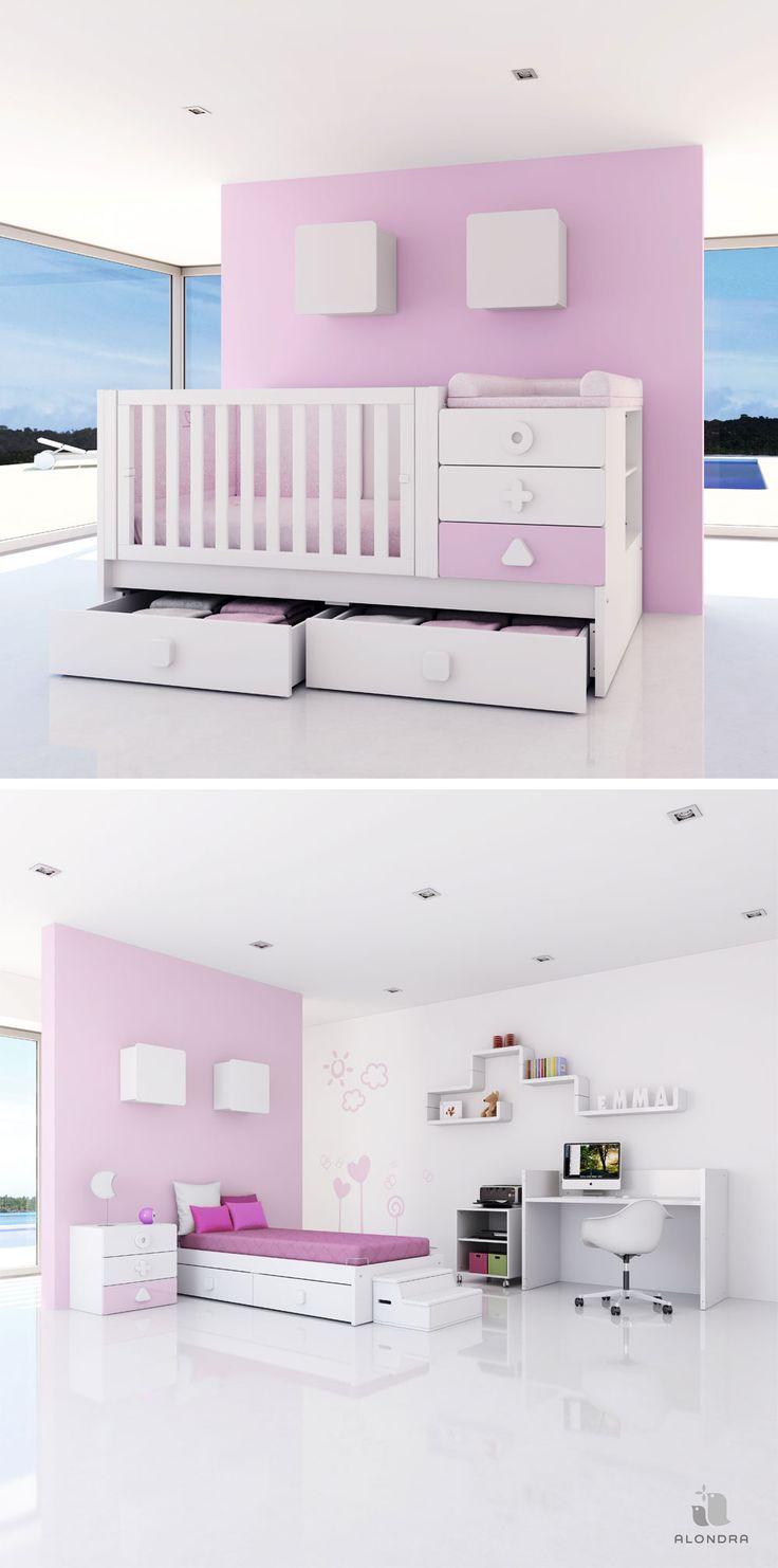 Cuna convertible MATHS en color rosa y blanco para las princesas de la casa. Primero cuna y luego habitación infantil completa ¡Una solución de largo recorrido!