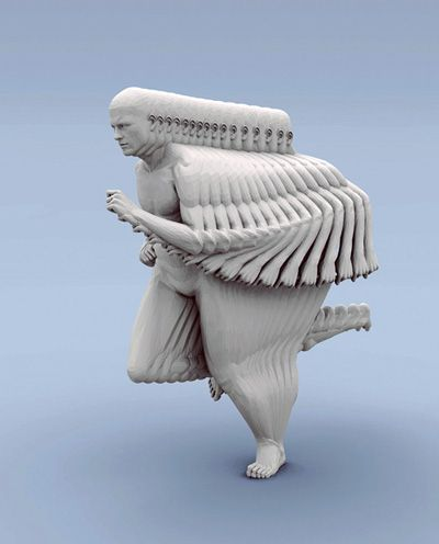 Peter Jansen. sculpture (running) - This 3D piece is also 4D in that it repeats an image over time.