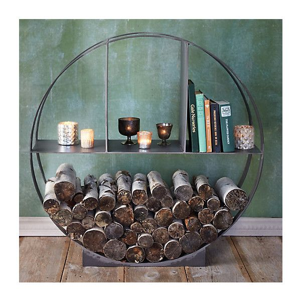 Iron Circle Log Holder (615 AUD) ❤ liked on Polyvore featuring home, home decor, fireplace accessories, outdoor log holder, fireplace log holder, outside home decor and iron home decor