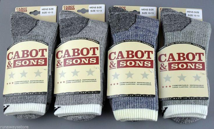 4 Pair/Colors MEN'S Cabot & Sons Best Merino Wool Hiking Socks,10 ...