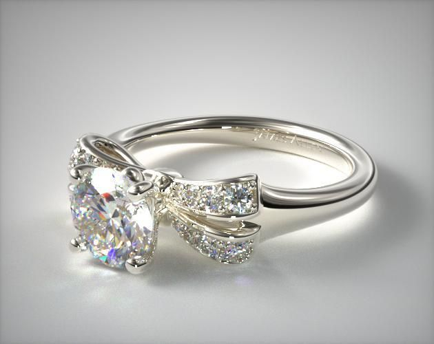 14K White Gold Pave Bow Engagement Ring | A vibrant and voluptuous diamond encrusted bow creates the stunning silhouette of this dreamy engagement ring. | Ring Style: 17552W14 on JamesAllen.com. Click to view this ring in 360° HD.