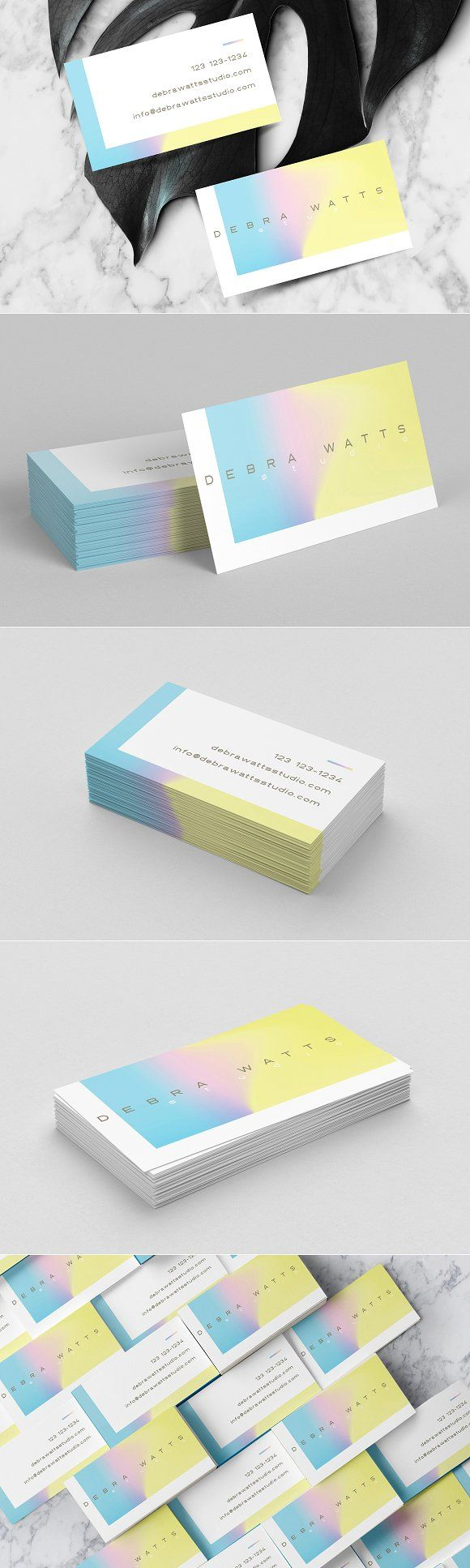 Feminine holographic business card by Polar Vectors on @creativemarket