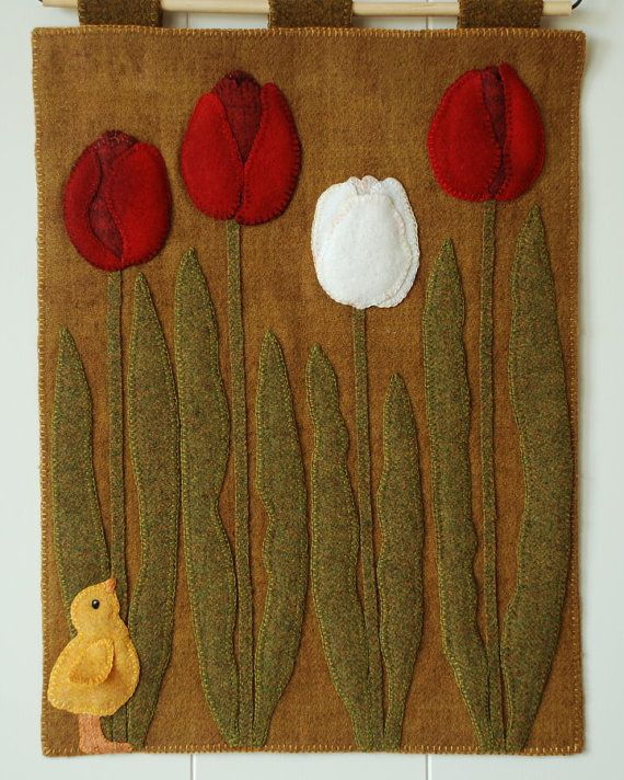 Wool applique PATTERN A Peep at the Tulips by HorseAndBuggyCountry