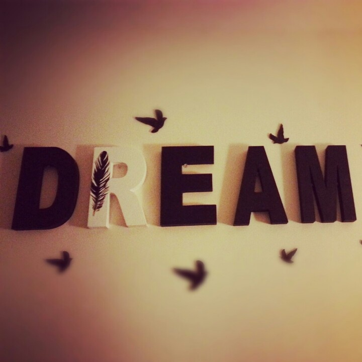 Dream Wall Decor wall decoration diy. wooden letters painted black, mod podge