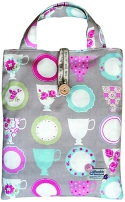 Tea Cups & Floral Stripe - Shopper Bag Kit from Hamble & Jemima £14.40 - Past Impressions