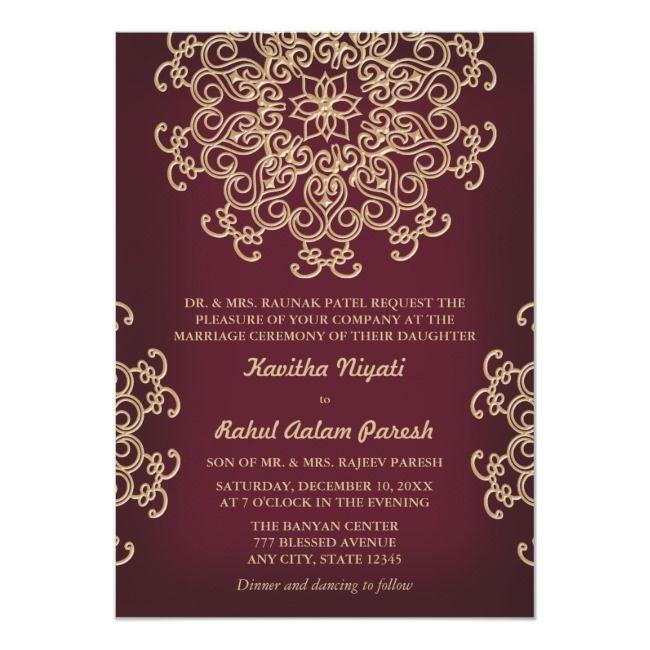 Create Your Own Invitation Zazzle Com In 2020 Indian Wedding Invitations Burgandy And Gold Wedding Wedding Invitations