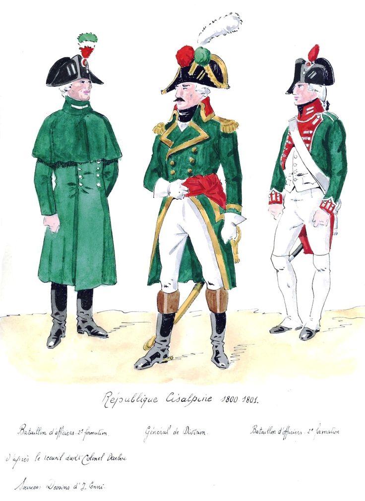 Republique Cisalpine;   Bataillion d'Officier 2e fusilier, General de Division,  Bataillion d'officier.
