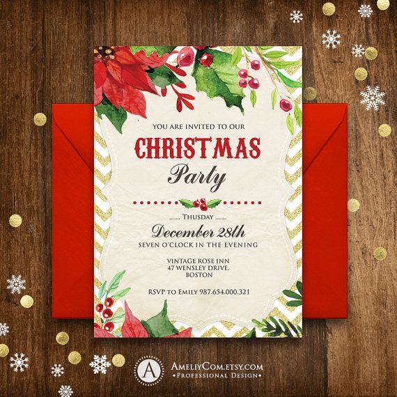 Christmas party Invitation Rustic Poinsettia Winter Printable Invitation Cheap holiday party invitations template Download Red Green Gold  Buy Christmas Invitation - Get a FREE Print for Holiday Decor! Enjoy! :)