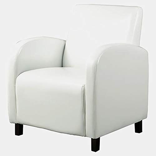 Faux Leather Accent Chair With Wood Frame Accent Armchair With Square Arms White Leather Accent Chair Accent Chairs White Leather Chair
