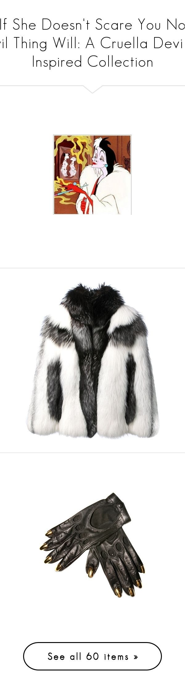 """If She Doesn't Scare You No Evil Thing Will: A Cruella Deville Inspired Collection"" by mygypsyheart ❤ liked on Polyvore featuring outerwear, coats, jackets, fur, alexander mcqueen coat, ivory fur coat, short fur coat, white winter coat, long sleeve coat and accessories"