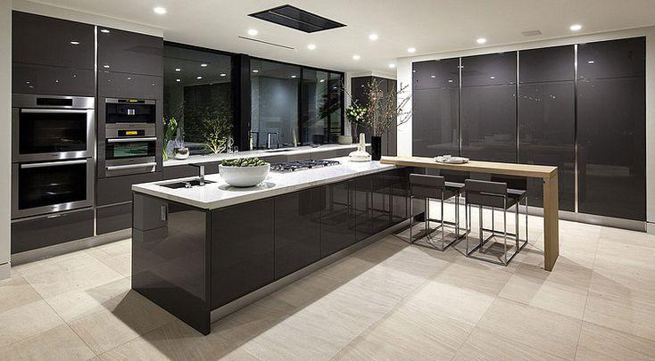 Dark grey gloss cabinetry