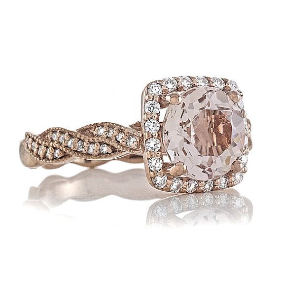 14kt Rose Gold 1.72ct Round Peach MORGANITE ENGAGEMENT RING Natural Diamonds .29t Halo Engagement Ring Wedding Ring Anniversary Ring on Etsy, $1,190.00