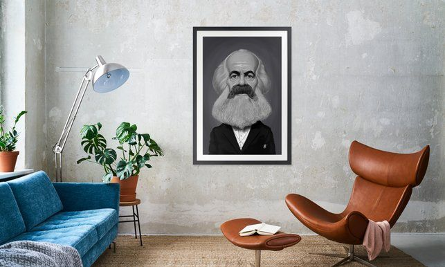 Karl Marx - Rob Snow | Creative - Poster in Wooden Frame art | decor | wall art | inspiration | caricature | home decor | idea | humor | gifts