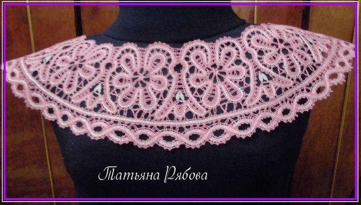 РОЗОВАЯ САКУРА,кокетка для платья вологодская техника плетения