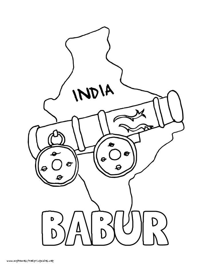 World History Coloring Pages Printables Babur Conquers India Mughal