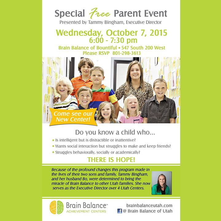 Our new Center in Bountiful opens this Wednesday October 7th and we will have a #Free #Parent #presentation that same night! Please contact us for more information, to #RSVP for the event and to get your child on our #schedule! 801-298-3613  See you there! #behavior #academics #social #StGeorge #SouthJordan #PleasantGrove #Bountiful #Utah #UT #addressthecause #brainbalance #afterschoolprogram