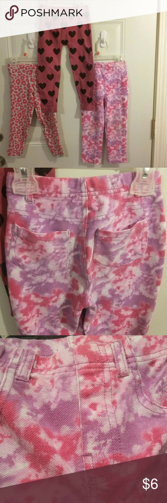Whole bundle 6$ Multi-line designed stretch pants Tie-dye leggings look like jeans (jeggings)with (72% cotton, 24% polyester, 4% spandex). The heart stretch pants when put on the lines in them are black so gives them extra funky(69%nylon, 23%polyester, 8% spandex). The Leopard print are a thick legging good for cold(89% cotton, 17% nylon, 3% spandex) garanimals, faded glory, sonoma Bottoms Leggings