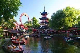 Tivoli, the 2nd oldest amusement park in the world. opened 1843. In Copenhagen £11 per adult, kids both free