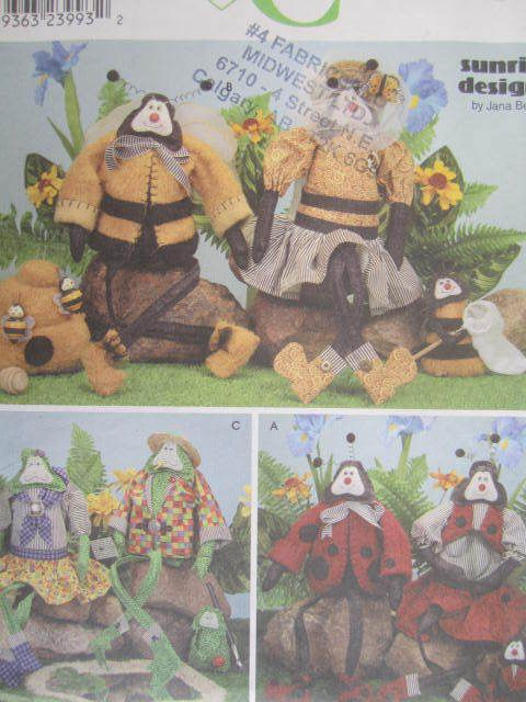 See Sally Sew-Patterns For Less - Bumble Bee Doll Lady Bug Dolls Frog Family Garden Friends Simplicity 9257 Craft Pattern , $8.99 (http://stores.seesallysew.com/bumble-bee-doll-lady-bug-dolls-frog-family-garden-friends-simplicity-9257-craft-pattern/)