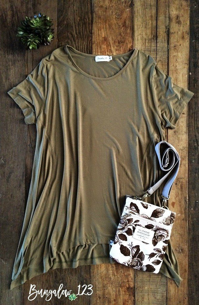 B123 Perfect Modal Top - Olive Gold