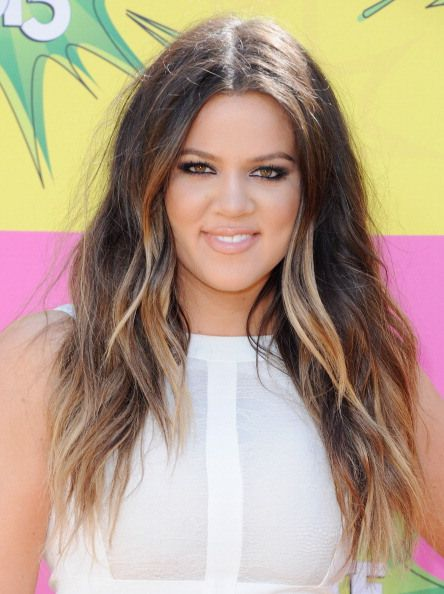 Khloe Kardashian Ombre Hair with some highlights around her face. Hair color by George Papanikolas at Andy Lecompte Salon LA, Rita Hazan Salon NYC.