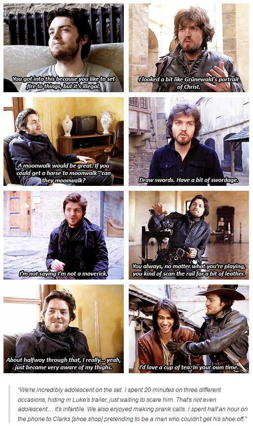 Tom Burke from the Musketeers behind the scenes footage.