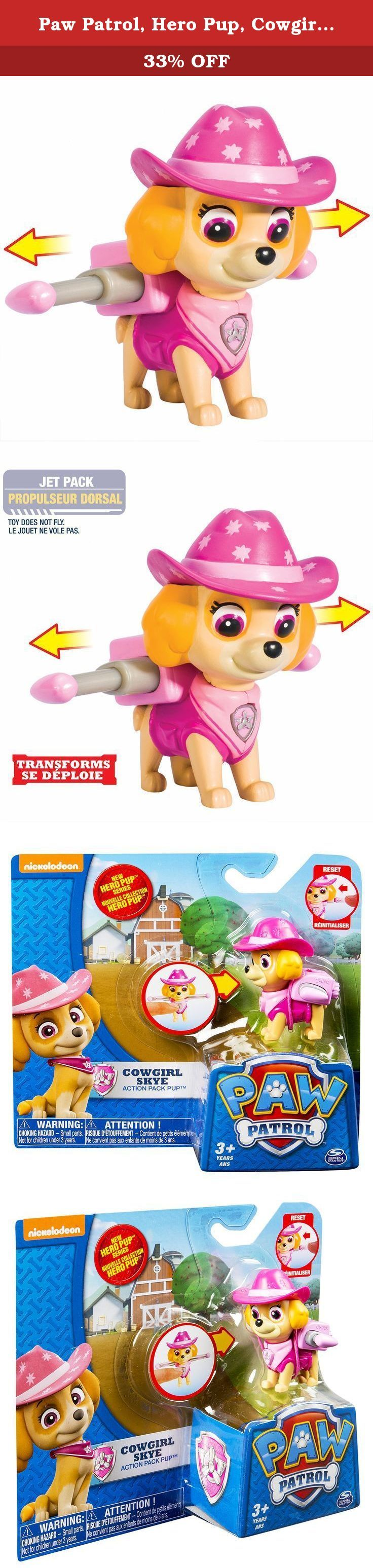 Paw Patrol, Hero Pup, Cowgirl Skye. Recreate the pups' western adventure with Cowboy Skye! This action-packed, cowboy themed pup is a fearless and smart Cockapoo who can't wait to take off! Press Skye's dog tag to transform her Pup Pack into highflying wings just like in the show! Need some Paw Patrol help? Collect each loveable Paw Patrol pup in the brand new Hero Series and work together as a team! Whether it's Chase, Rubble, Zuma, Rocky, Marshall or Skye, each pup has a unique push…
