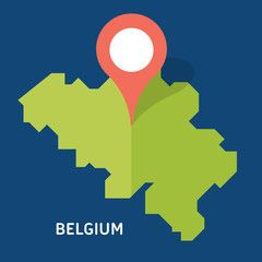 Map of Belgium on blue background